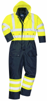 High Visibility Yellow & Navy Lined Waterproof Coverall S485